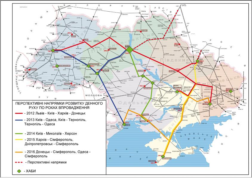Карта железных дорог Украины